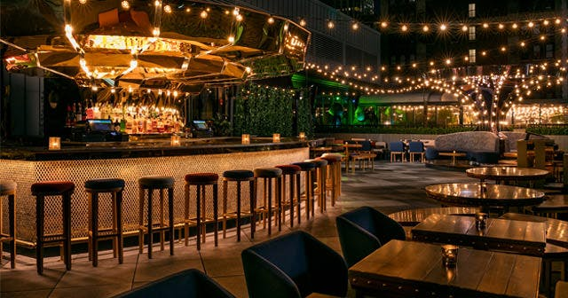 Inside look of Magic Hour Rooftop with bottle service