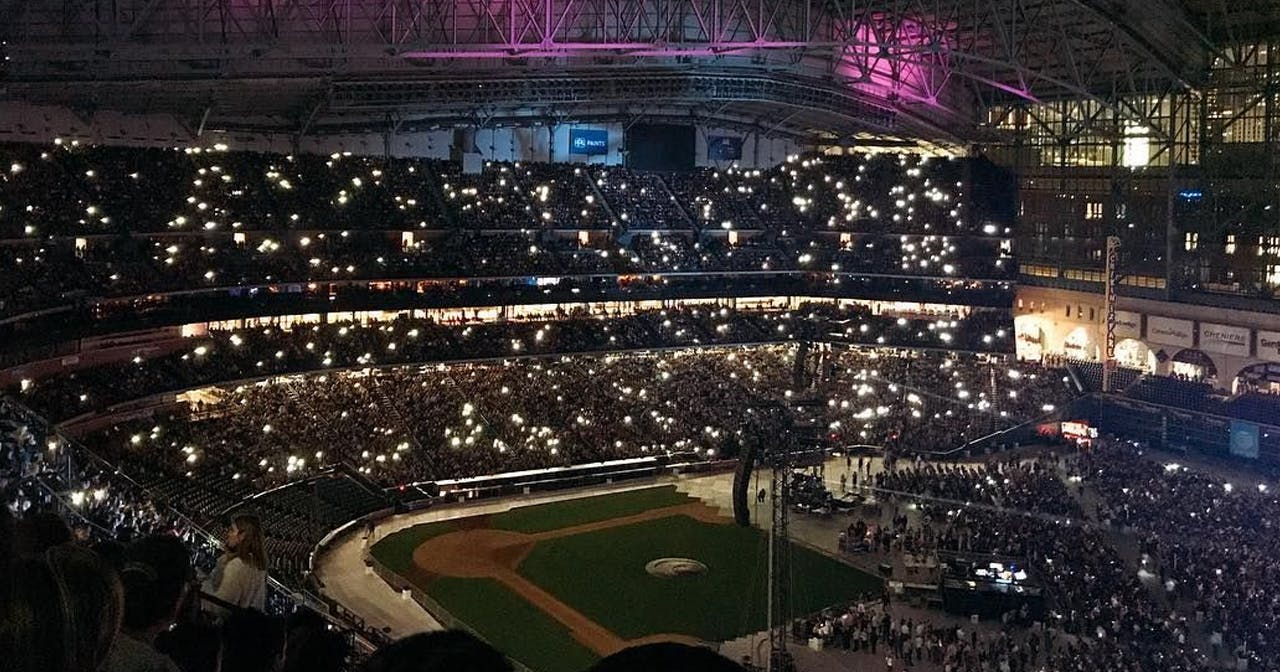 View of the interior of Minute Maid Park after buying tickets
